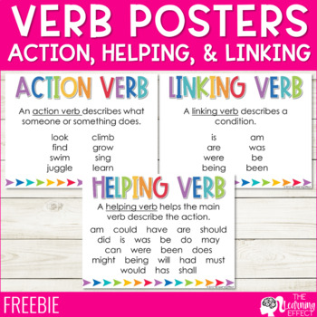 Action, Helping, & Linking Verb Posters - FREE by The ...