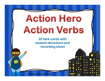 Action Hero Action Verb Task Cards