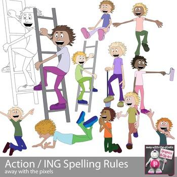 Action Kids Clipart - Spelling Rules ING End - ESL ELL Clip art - Inc Blackline