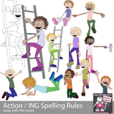 Action Kids Clipart - Spelling Rules ING End - ESL ELL Cli