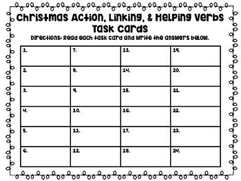 Action, Linking, & Helping Verbs Christmas Task Cards