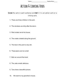 Action & Linking Verb Quiz