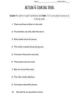 Action And Linking Verbs Worksheets Teaching Resources Tpt