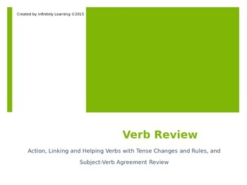 Action, Linking and Helping Verb State Test Review (editable)