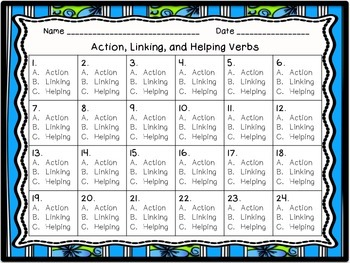 Action, Linking, and Helping Verb Task Cards and Worksheet