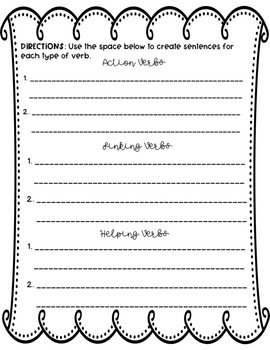 EDITABLE Action, Linking and Helping Verbs Worksheet