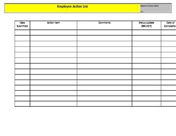 Action List (Employee, Staff, Etc.)