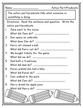 Action Parts (Predicates) of Sentences