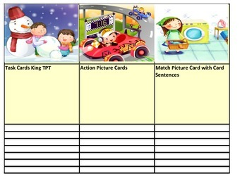 Action Picture Card Sentence Match I-Station Vocabulary Series