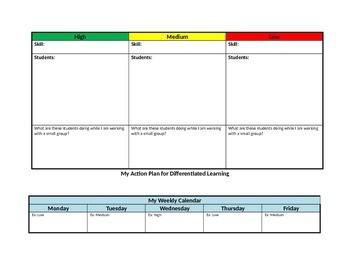Action Plan for Grouping and Differentiated Learning Planning Organizer