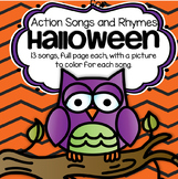 Halloween Songs and Rhymes With Pictures to Color - Make a book to take home.