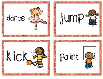Action Verb Charades Game Cards