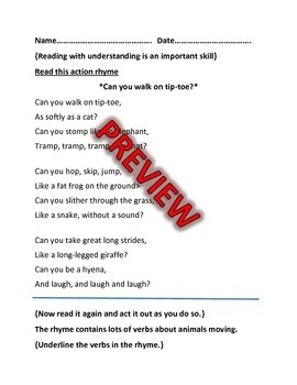 Action Verb Family Feud and Worksheets