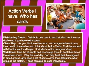 Action Verb I have, Who has Grammar Flashcards