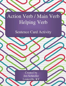 Action Verb, Main Verb, Helping Verb Identification Cards