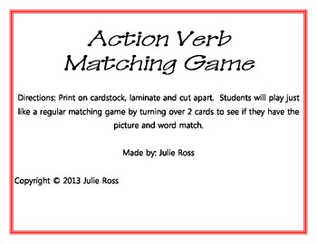 Action Verb Matching Game