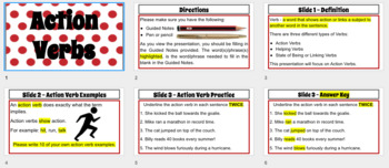 Action Verb Mini-Lesson with Guided Notes- INSTANT DOWNLOAD GOOGLE PRESENTATION
