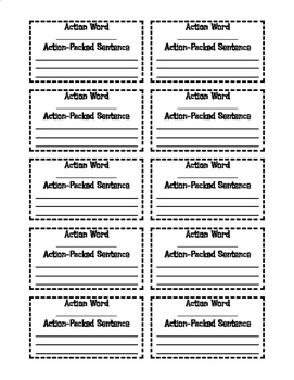 Action Verb Sentence Cards