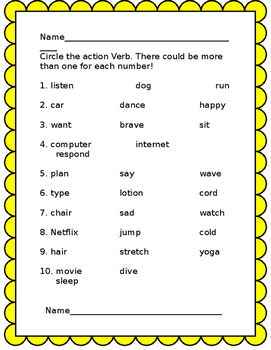 Action Verb activities
