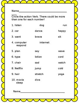 Action Verb activities
