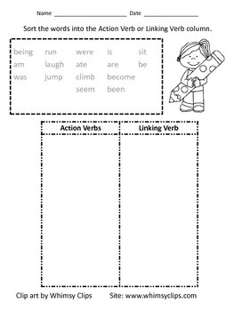 Action Verb and Linking Verb Sort Worksheet by Crooms' Creative | TpT