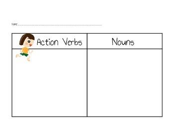 Action Verb and Noun Sort