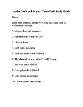 Action Verb and Present Tense Verbs Study Guide