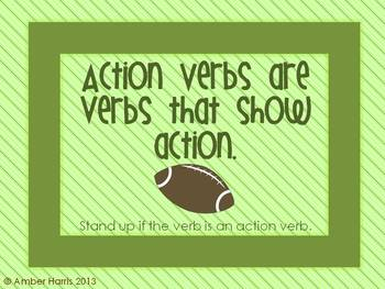 Action Verb or Linking Verb Sit Down Stand Up Active Learning Game