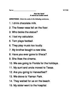 Action Verb worksheet