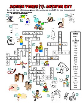 Action Verbs (1) - Crossword Puzzle with Pictures (Classroom Language)