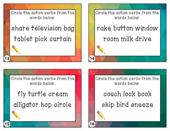 Action Verbs Taskcards