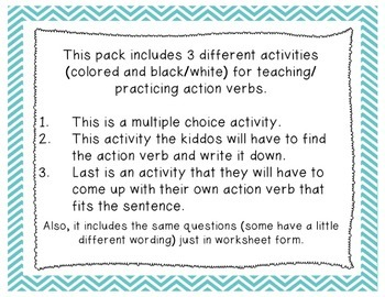 Action Verbs (3 Activities Differentiated)