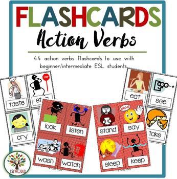 Action Verbs {44 Flashcards & Games} ESL Adults & Grades 4-6