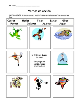 Action Verbs Activity Page in Spanish Useful for Talking About Sports