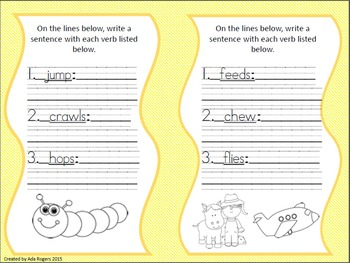 Action Verbs Booklet