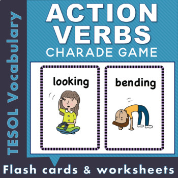 illustrated action verb flash cards and worksheets by bluwren tpt