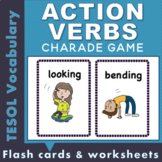 Illustrated Action Verb flash cards and worksheets