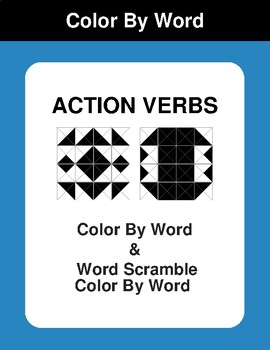 Action Verbs - Color By Word & Color By Word Scramble Worksheets