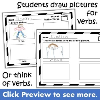 Action Verb Craft Activity for Grammar and ELA