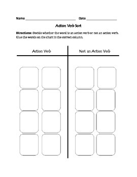 Action Verbs: Cut, Sort, & Paste Activity