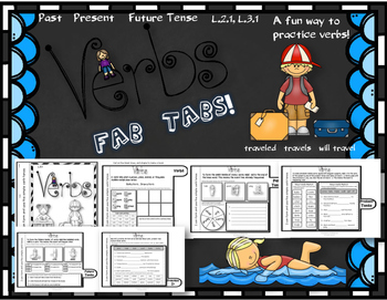 Dollar Deal! Action Verbs Fab Tabs! Book {Past, Present, F
