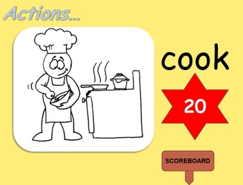 Action Verbs Flashcards PowerPoint Interactive Game (Lower Primary ESL)