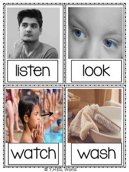 Action Verbs Flashcards Real Life Photos