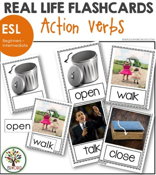 Action Verbs ESL Flashcards - Real Life Photos