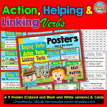 Verbs Action Helping Linking Verbs Posters Center
