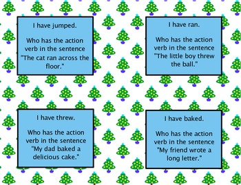 action verbs i have who has game - Action Berbs