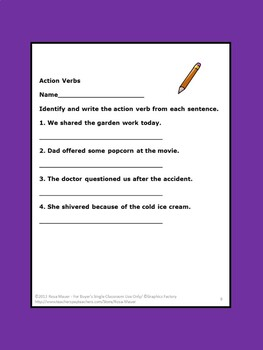Action Verbs Task Cards and Worksheets