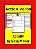 Action Verbs Task Cards and Worksheet Activity