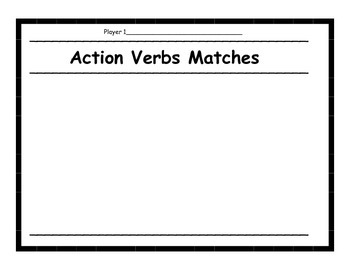 Action Verbs Memory Game