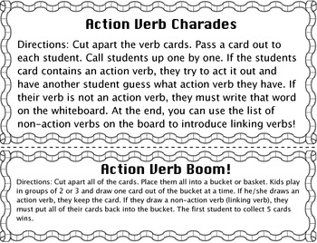 Action Verbs Mini Games
